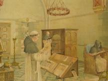 In een middeleeuwsch Klooster (Laatste helft 15e eeuw)
