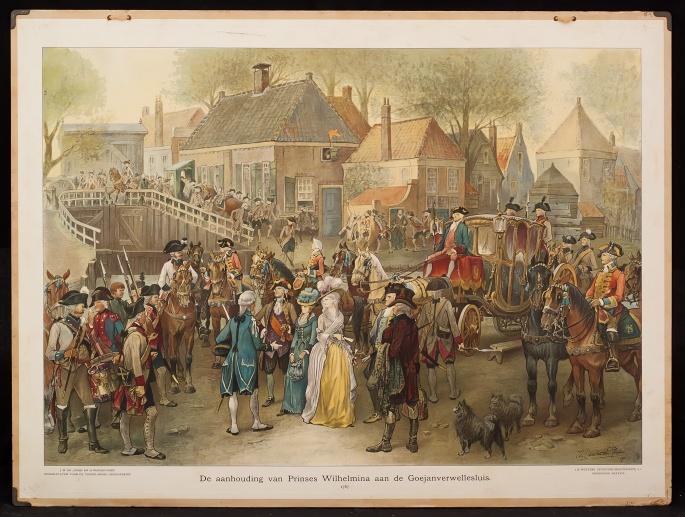 De aanhouding van Prinses Wilhelmina aan de Goejanverwellesluis, 1787.