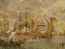 Binnenkomende vloot vr Amsterdam omstreeks 1665. 