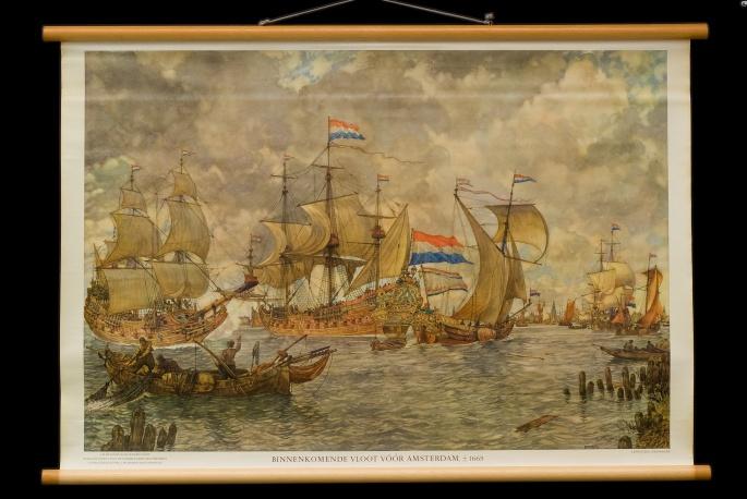 Binnenkomende vloot vóór Amsterdam omstreeks 1665.