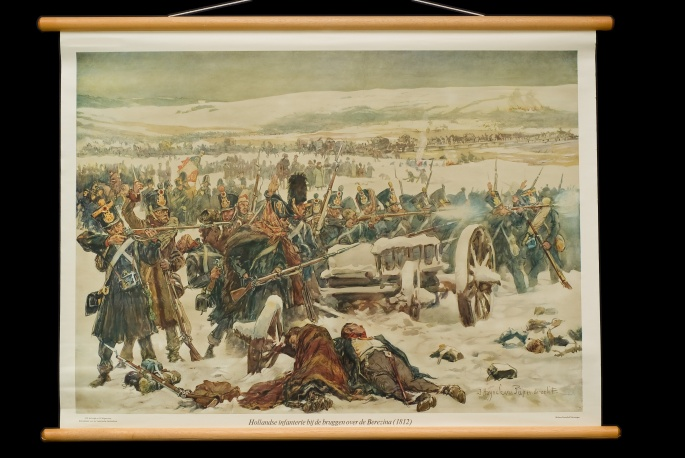 Hollandsche infanterie bij de bruggen over de Berezina, 1812.