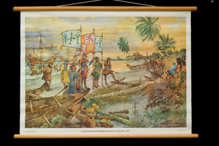 Columbus neemt Guanahani in bezit, 12 oktober 1492.