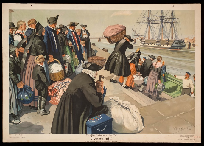German folklore (Volkstum) all over the world. The overseas are calling! German expatriates before leaving the harbour.